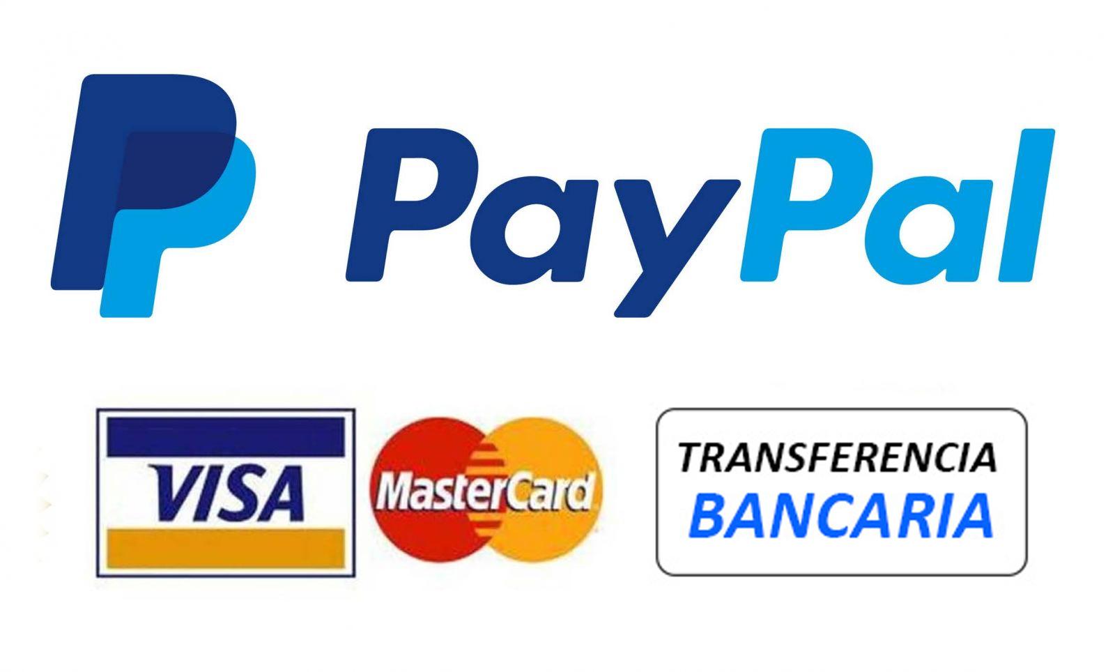 Formas de pago seguro, vía PayPal o por Transferencia Bancaria